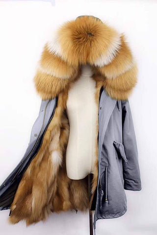 Carmen Charlott Gold Fox Fur Parka - Grey