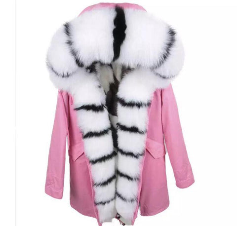 Carmen Charlott Fox Fur Parka - Black and White Limited