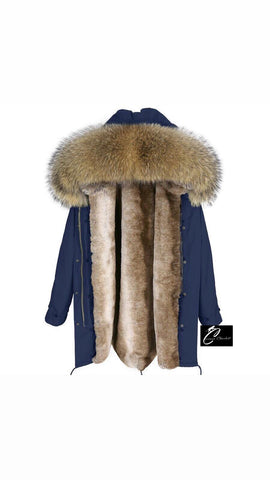 Carmen Charlott Men Parka Blue