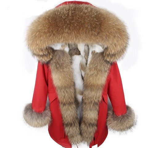 Carmen Charlott Fox Fur Parka - Red