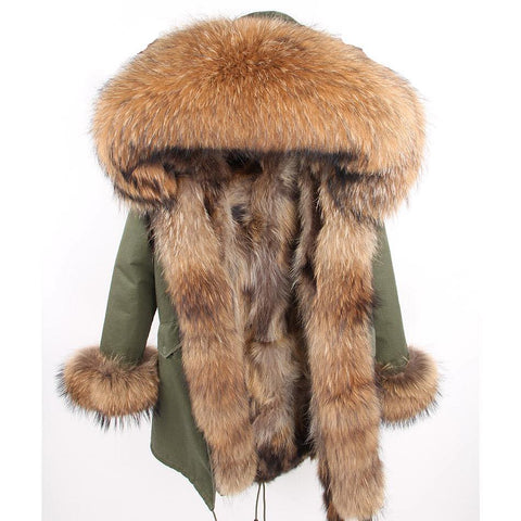 Carmen Charlott Fox Fur Parka - Green