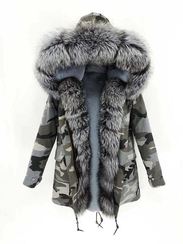 Carmen Charlott Luxury Men Parka Camouflage Grey - AW19