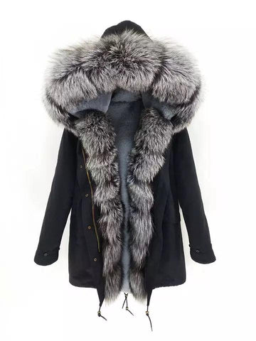 Carmen Charlott Luxury Men Parka Black - Silver Fox Fur - AW19