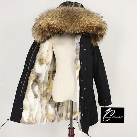 Carmen Charlott Fox Fur Parka - Black