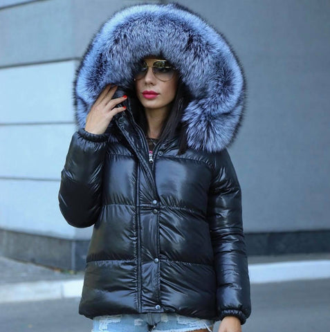 Carmen Charlott Silver Fox Fur Down Jacket Black - AW19