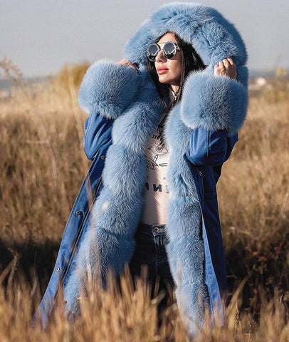 Carmen Charlott Luxury Blue Collection - Fox Fur Parka AW19