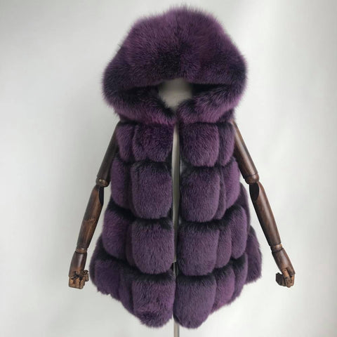 Carmen Charlott Fox Fur Hood Vest - Purple