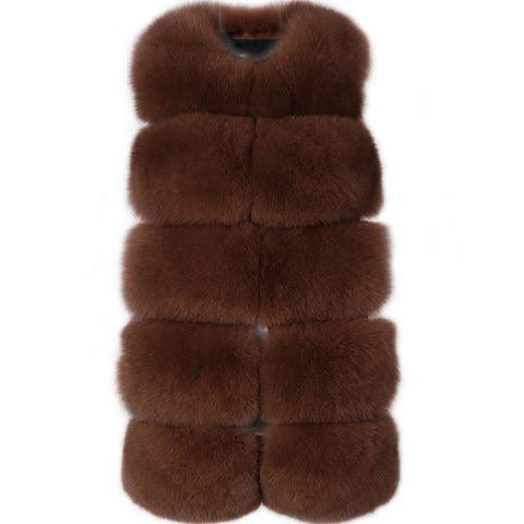 Carmen Charlott Fox Fur Vest - Brown