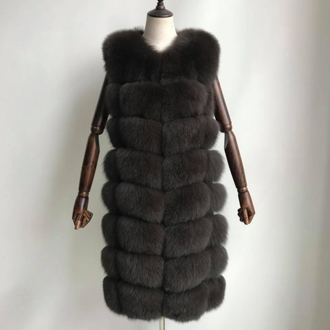 Carmen Charlott Fox Fur Vest Midi - Brown