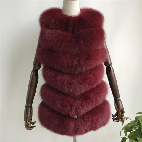Carmen Charlott Fur Vest Short - Red