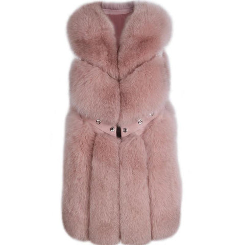 Carmen Charlott Fox Fur Vest - Rose