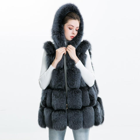 Carmen Charlott Fox Fur Hood Vest - Grey/Blue