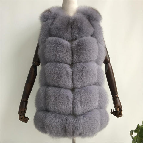 Carmen Charlott Fox Fur Vest - Light Grey