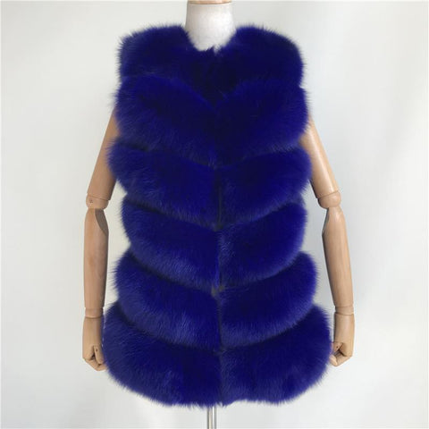 Carmen Charlott Fur Vest Short - Royal Blue