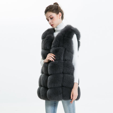 Carmen Charlott Fox Fur Vest - Dark Grey