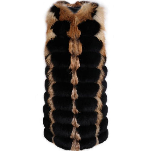 Carmen Charlott Luxury Gold and Black Fox Fur Vest - AW19
