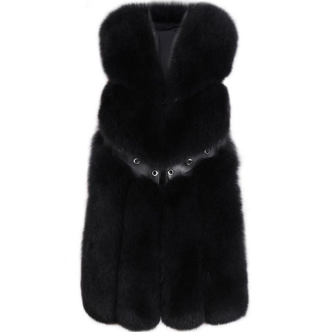 Carmen Charlott Fox Fur Vest - Black