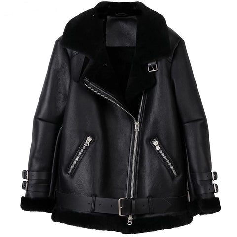 Carmen Charlott Leather Jacket Black