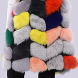 Carmen Charlott Luxury Fox Fur Vest - Multicolor