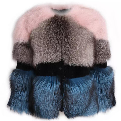 Carmen Charlott Fox Fur Jacket - Color Block