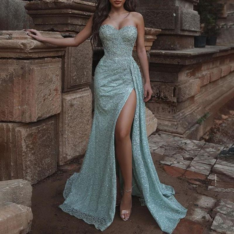 Elegant Sexy Sleeveless Tube Top Side Slit Evening Dress