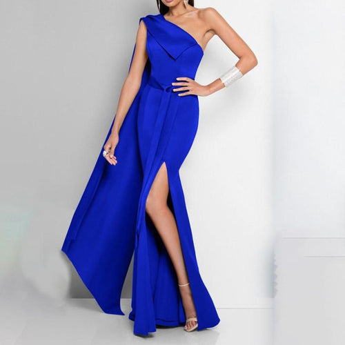 Sexy One-shoulder Sleeve Oblique Collar Evening Dress