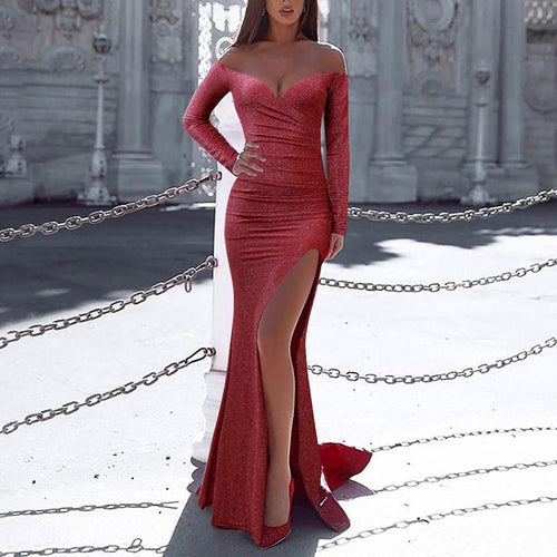 Sexy Wrapped Chest Long Sleeve Split Evening Dress