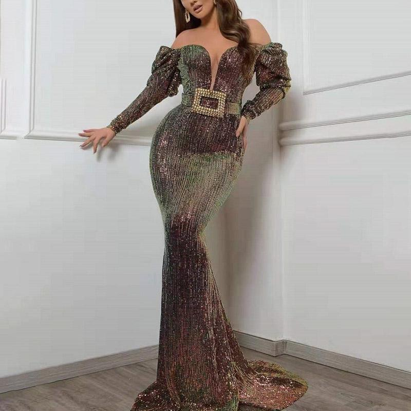 Sexy Word Shoulder Long Sleeve Sequin Evening Dress