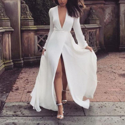 Sexy V-neck Slim Pure White Long-sleeved Dress