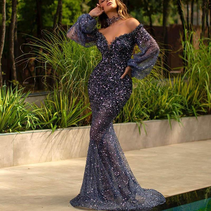 Fashion Sexy Hot Drilling Long Sleeve V-neck Blue Evening Dress