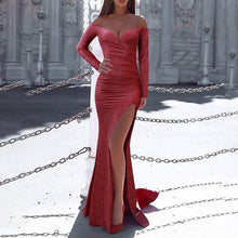 Load image into Gallery viewer, Sexy Wrapped Chest Long Sleeve Split Evening Dress