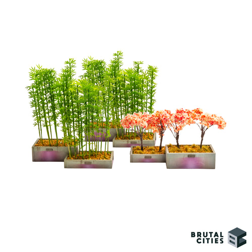 Three planter box kits with added trees and plants