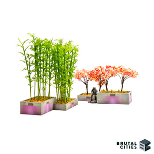 Side view of two planter boxes providing cover to a miniature