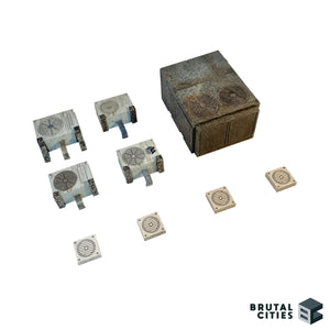 This accessory kit contains widgets, Air conditioning and exhaust fansto give you a cyberpunk feel to your terrain table.