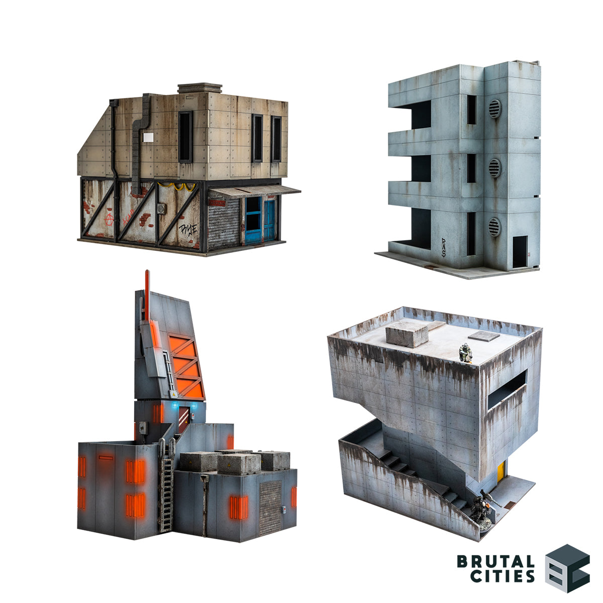 Bundle of 28mm Brutalist MDF wargaming terrain for modern, cyberpunk and sci-fi settings. Pictures show grimey concrete buildings, a hong kong inspired shop, a minimalist office building, a tall data centre tower to block LOS and a massive concrete building with a large stairway.
