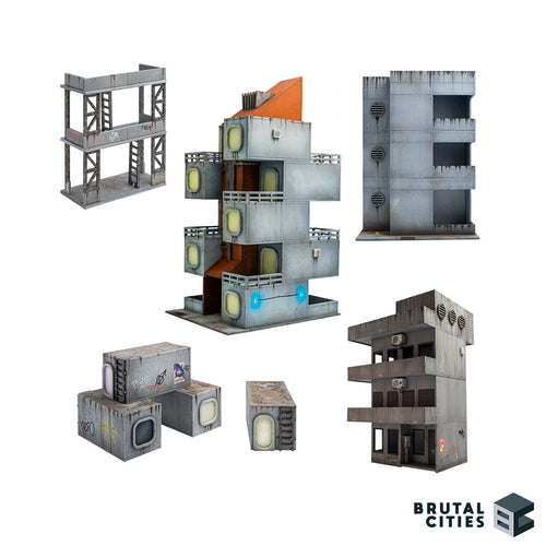 Bruteopolis wargaming terrain bundle with 5 MDF building kits