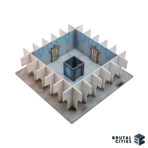 Wargaming objective room with central elevator
