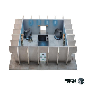 Objective room for miniature gaming with sliding doors and objective pieces