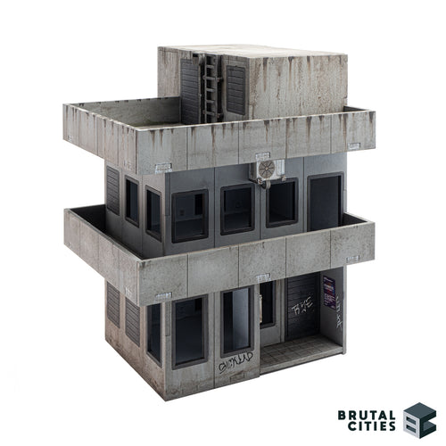 Brutalist miniature wargaming terrain model kit. Three storeys with balconies.