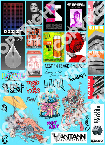 Waterslide decal pack with cyberpunk theme with graffiti and posters