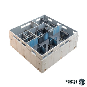 Interior wargaming terrain with separate office partitions