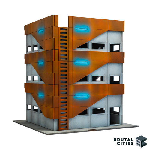 Three stories of stacked wargaming terrain with bottom level access