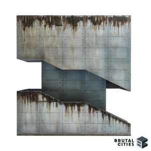 Concrete Brutalist terrain kit with a staircase and grime. Suitable for modern, Sci-fi and cyberpunk settings.