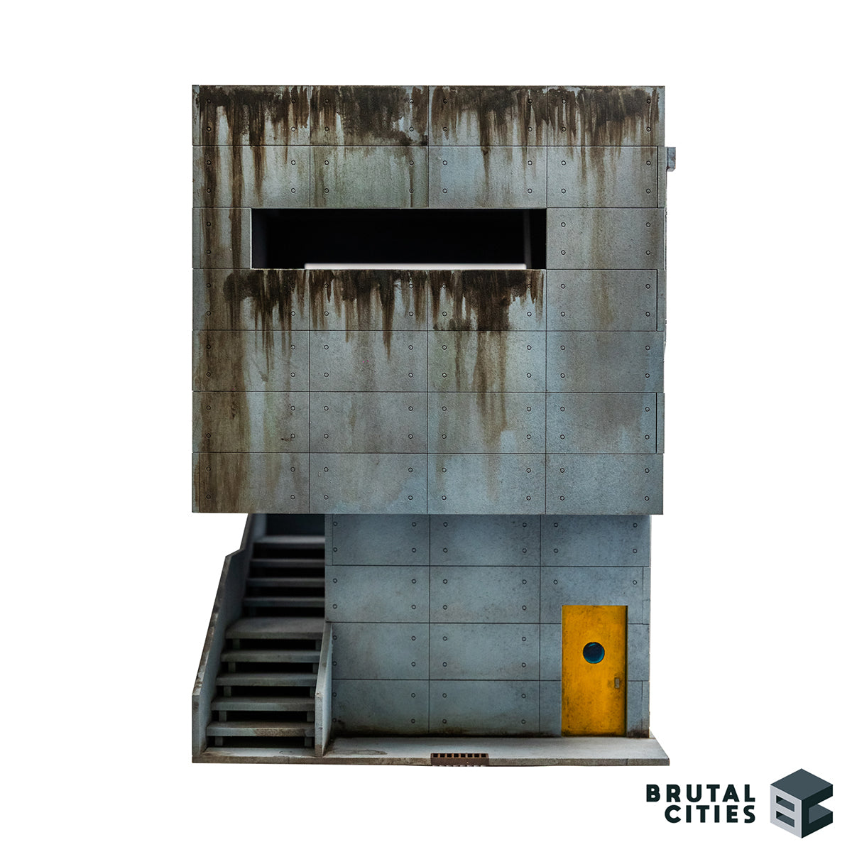 Concrete Brutalist terrain kit with a staircase and grime. Large window for overwatch positions. Oil paints used to paint grimey stains for weathering. Looks a bit like a bunker.