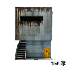 Load image into Gallery viewer, Concrete Brutalist terrain kit with a staircase and grime. Large window for overwatch positions. Oil paints used to paint grimey stains for weathering. Looks a bit like a bunker.