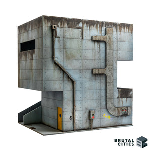 Concrete Brutalist 28mm tabletop terrain kit. Air conditioning ducting, downpipe and electrical conduit is shown giving the building an industrial or cyberpunk feel.