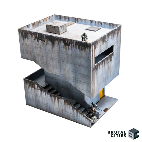 Concrete Brutalist terrain kit with a staircase and grime. Suitable for modern, Sci-fi and cyberpunk settings. Air conditioning on roof and access hatch. Staircase is wide enough to fit 40mm size bases. Infinity miniatures shown for scale - Yan Huo and Zhencha
