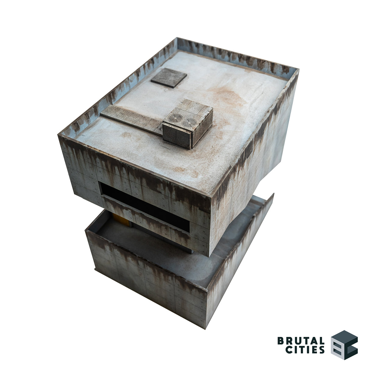 Rooftop view of cyberpunk and brutalist inspired MDF wargaming terrain building.