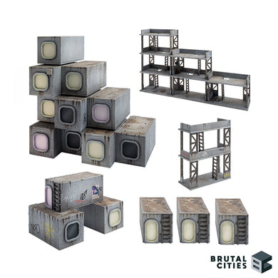 16 capsule houses and 8 scaffolding pieces in a variety of set ups