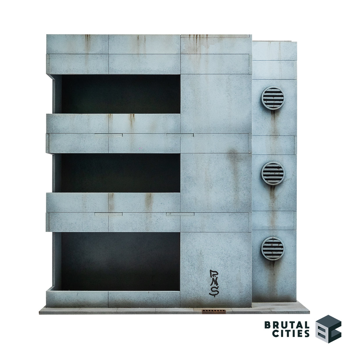 Elevation of minimalist office building for modern and sci-fi wargaming.